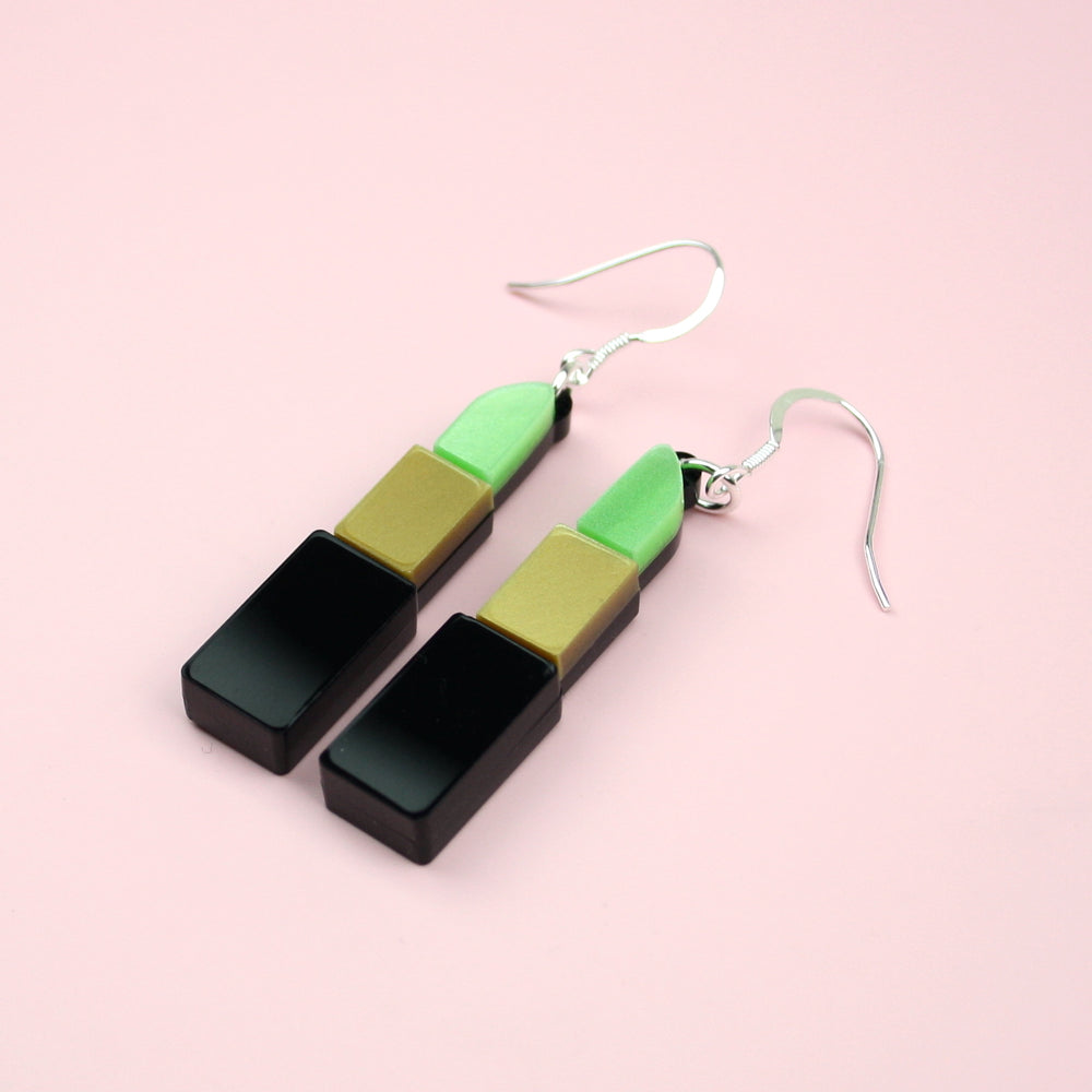 Load image into Gallery viewer, Green Lipstick Earrings