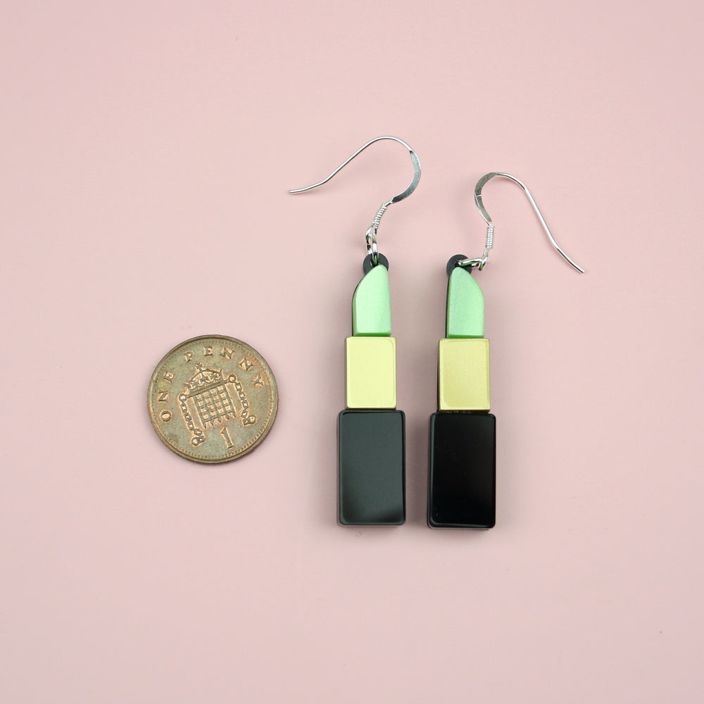 Green Lipstick Earrings