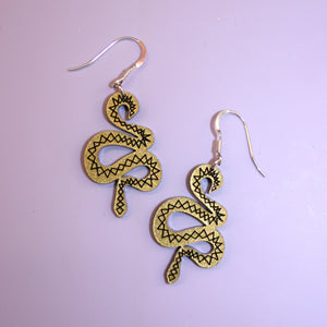 Small Gold & Black Snake Earrings - Sour Cherry