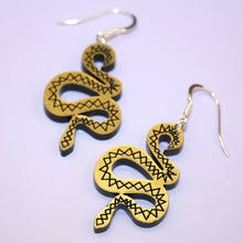 Load image into Gallery viewer, Small Gold & Black Snake Earrings