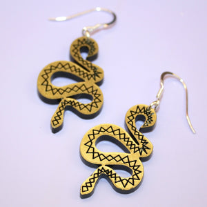 Small Gold & Black Snake Earrings