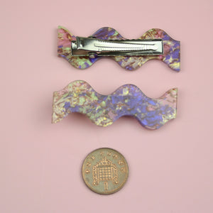 Load image into Gallery viewer, Wavy Abalone Hair Clips