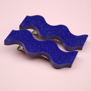 Wavy Purple Shimmer Hair Clips