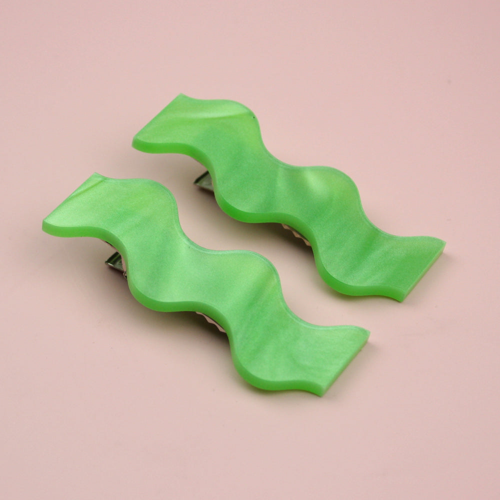 Wavy Green Marble Hair Clips