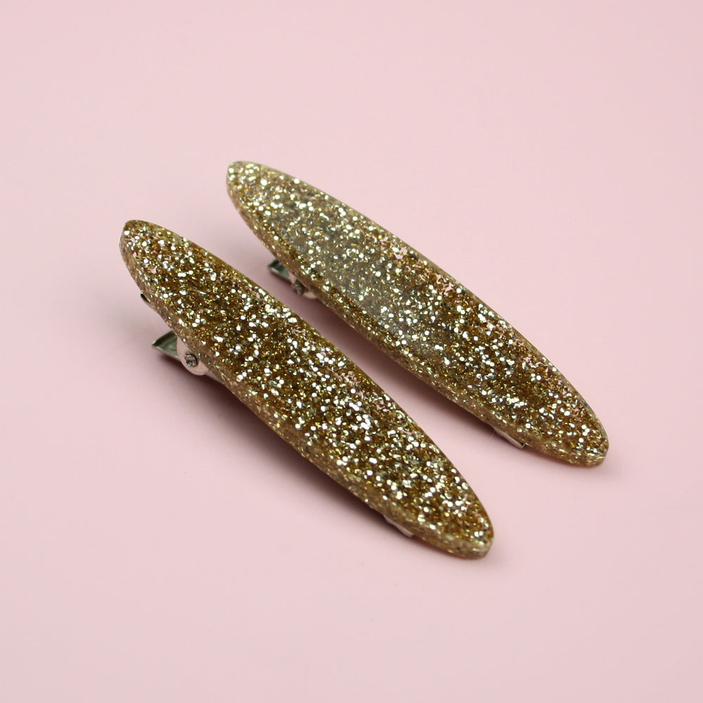 Gold Glitter Oval Hair Clips