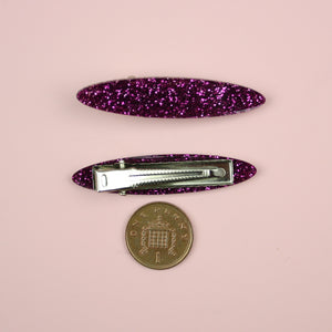 Purple Glitter Oval Hair Clips