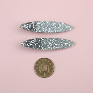Silver Glitter Oval Hair Clips