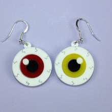 Load image into Gallery viewer, Red & Yellow Eyeball Earrings