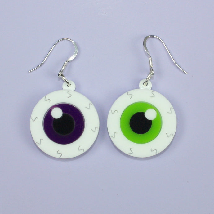 Purple & Green Eyeball Earrings