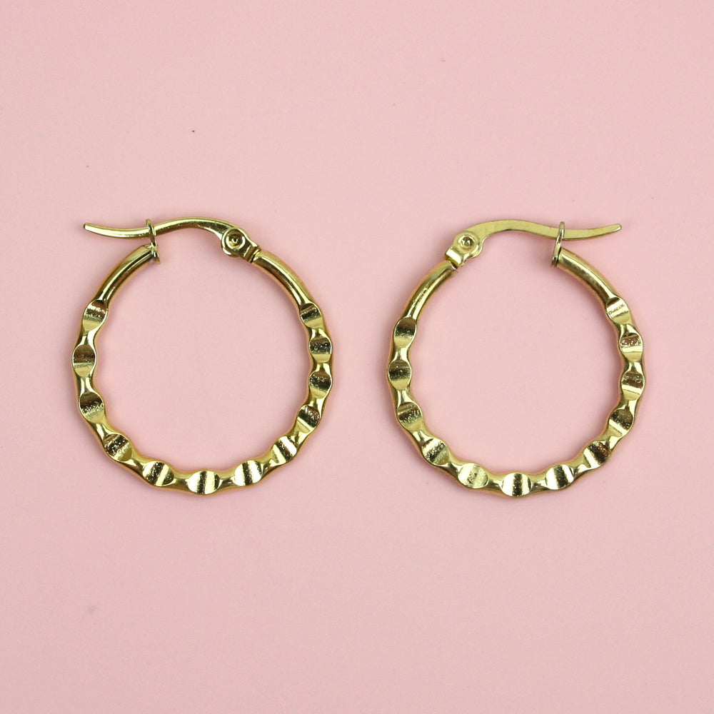 Hammered Hoop Earrings (Gold Plated)
