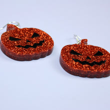 Load image into Gallery viewer, Orange Glitter Pumpkin Earrings