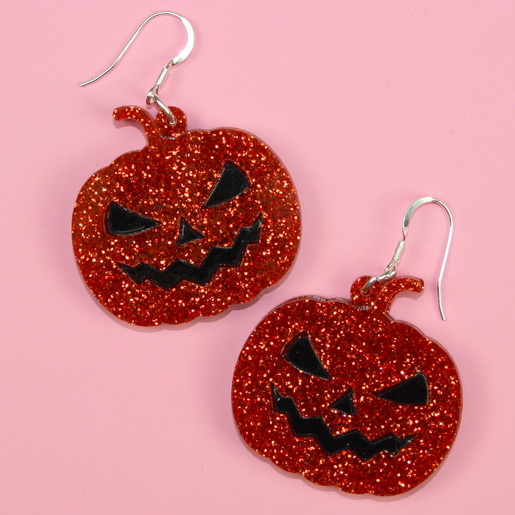 Orange Glitter Pumpkin Earrings - Sour Cherry