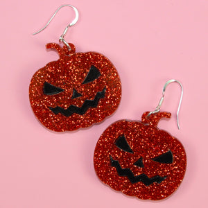 Orange Glitter Pumpkin Earrings