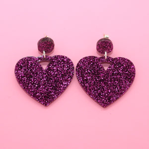 Purple Glitter Heart Drop Earrings