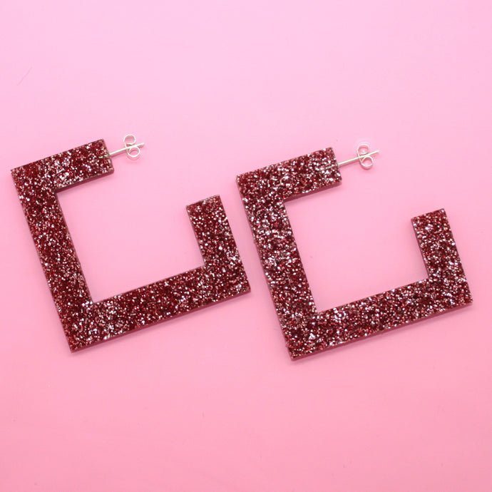 Pink Glitter Square Hoop Earrings