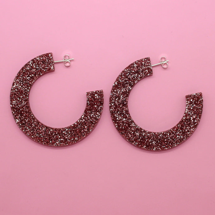 Pink Glitter Hoop Earrings