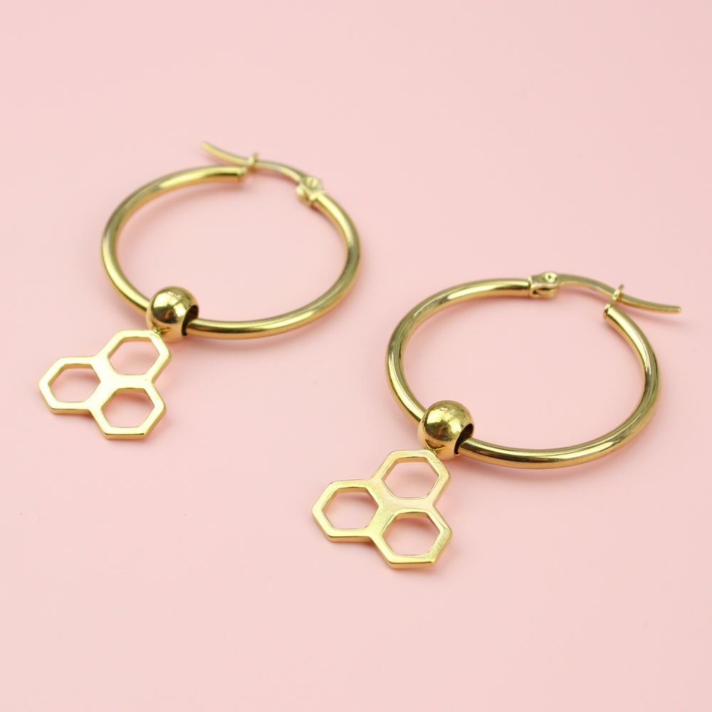Honeycomb Hoop Earrings (Gold Plated)