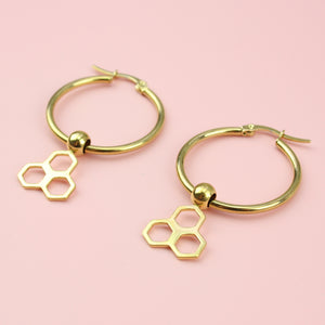 Load image into Gallery viewer, Honeycomb Hoop Earrings (Gold Plated)
