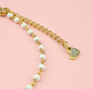 Load image into Gallery viewer, White Beaded Anklet (Gold Plated)