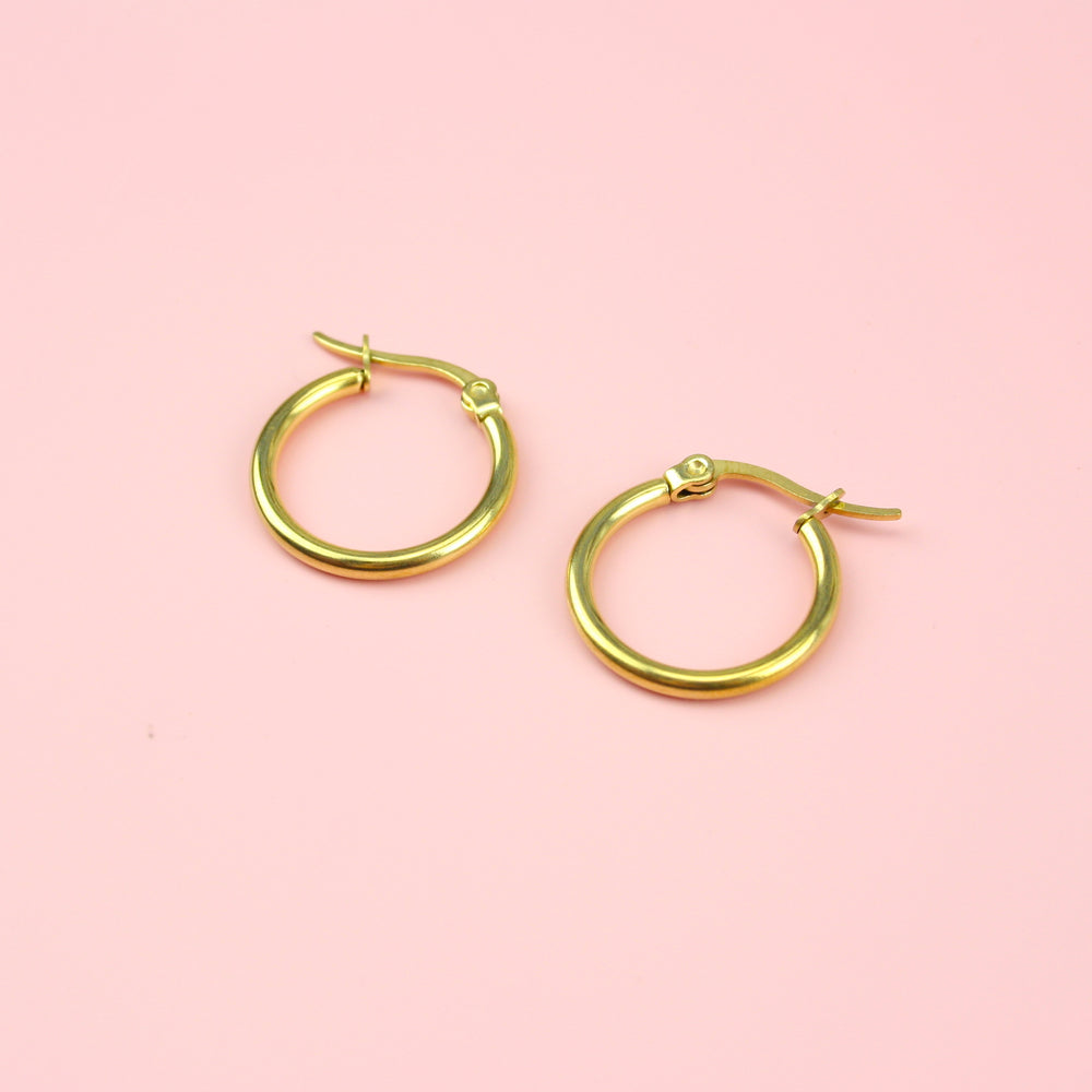 20mm Stainless Steel Hoop Earrings (Gold Plated)
