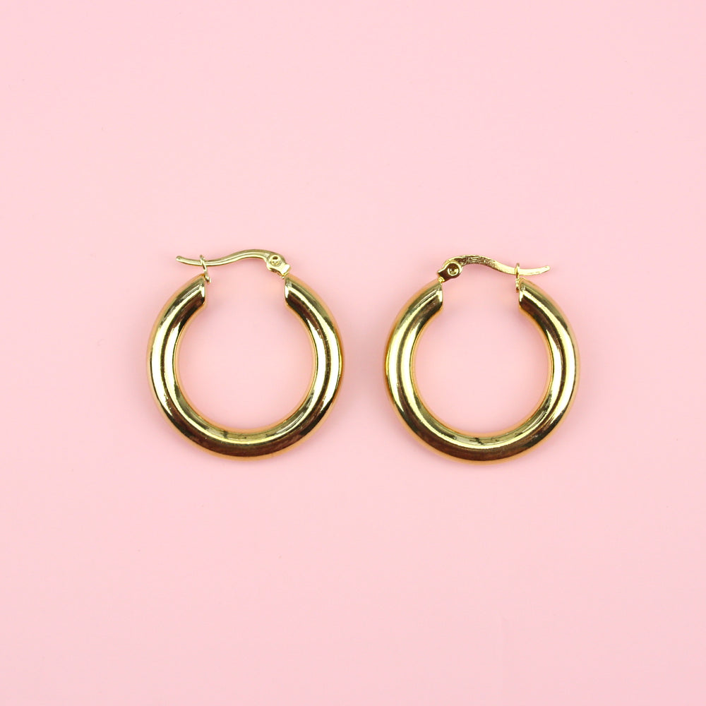 32mm Chunky Stainless Steel Hoop Earrings (Gold Plated)