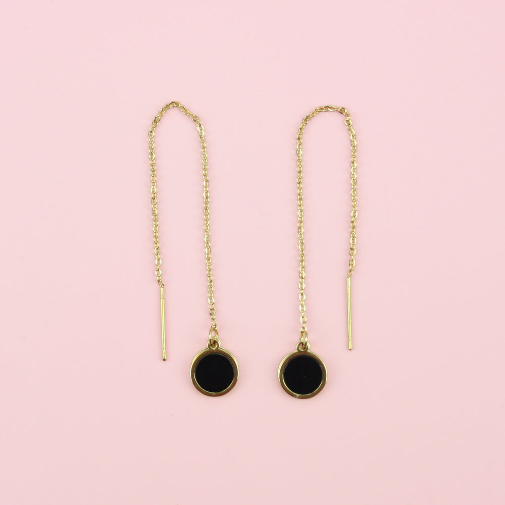 Black and Gold Threader Earrings (Gold Plated)
