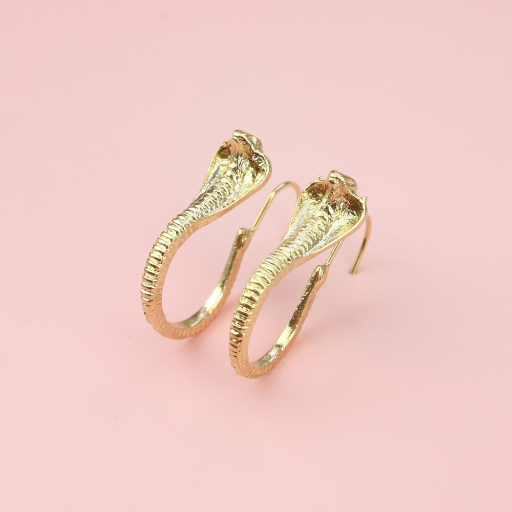 Cobra Snake Earrings (Gold Plated)