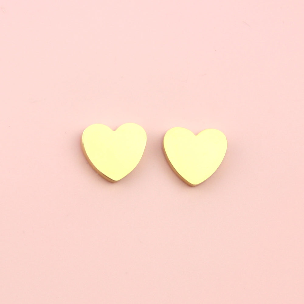 Heart Stud Earrings (Gold Plated Stainless Steel)