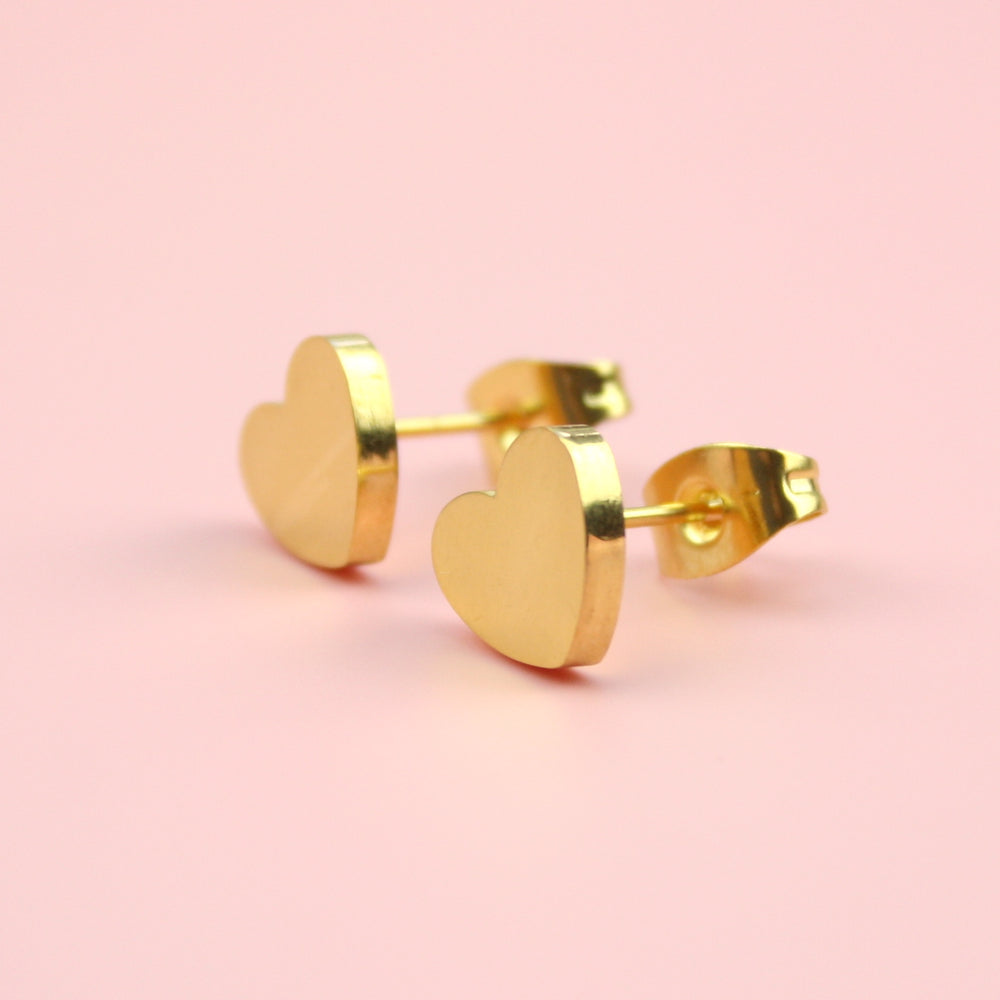 Load image into Gallery viewer, Heart Stud Earrings (Gold Plated Stainless Steel)