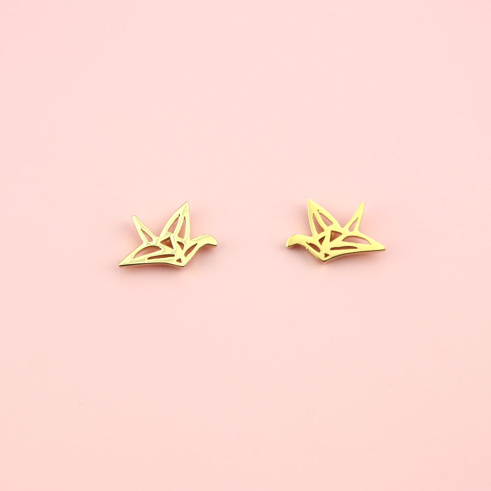 Crane Stud Earrings (Gold Plated)
