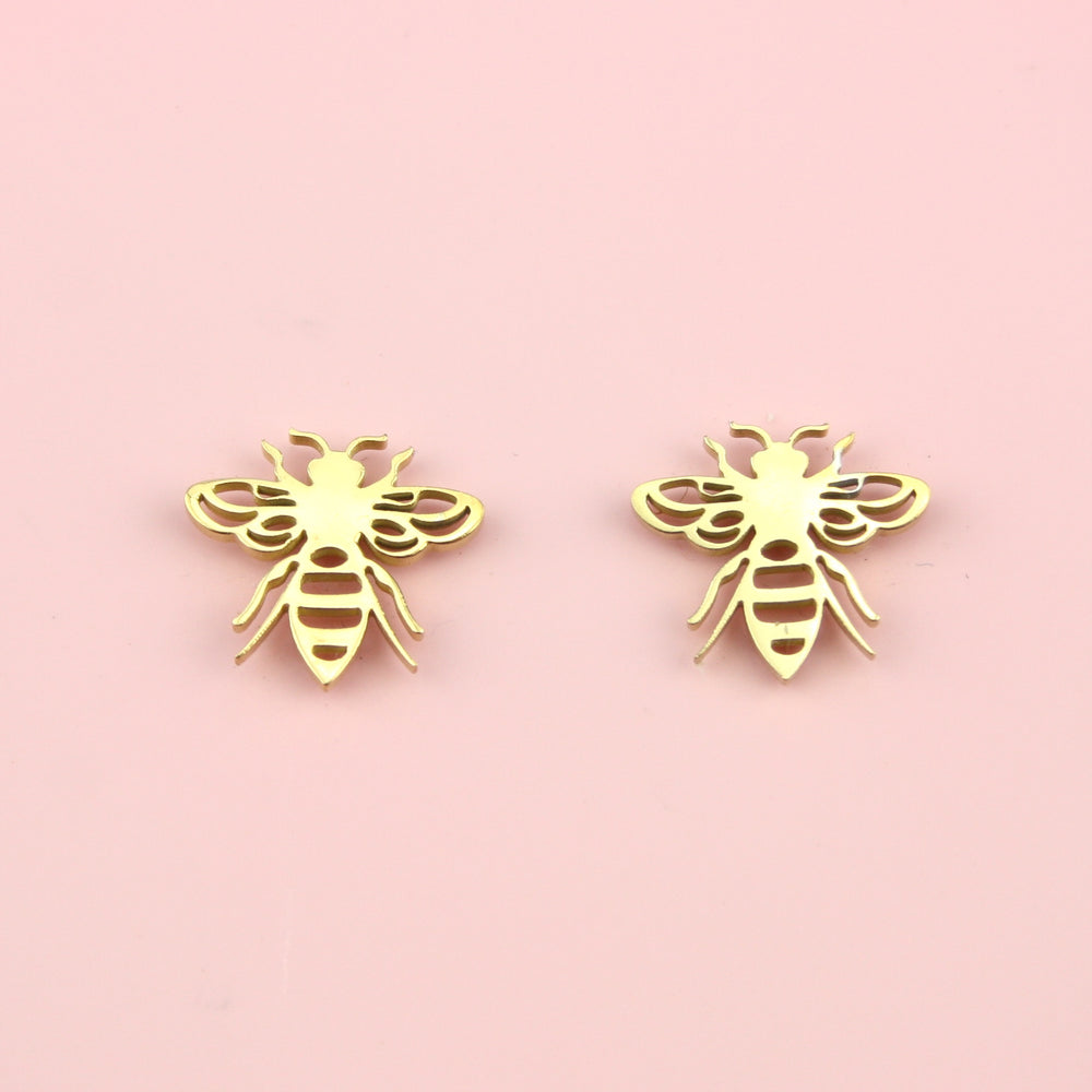 Buzzy Bee Stud Earrings (Gold Plated)