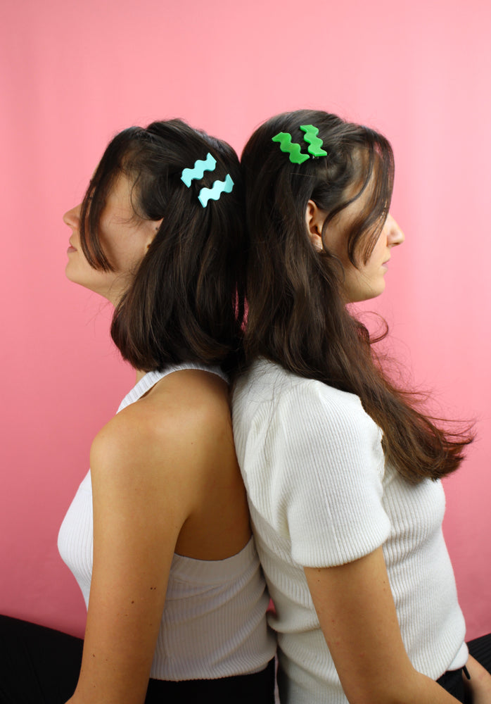 Mint Green Wavy Hair Clips