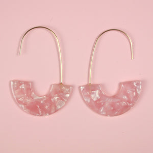Pink Shimmer C Drop Earrings - Sour Cherry