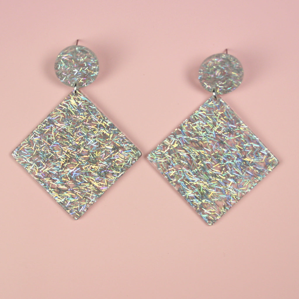 Glitter Drop Earrings - Sour Cherry