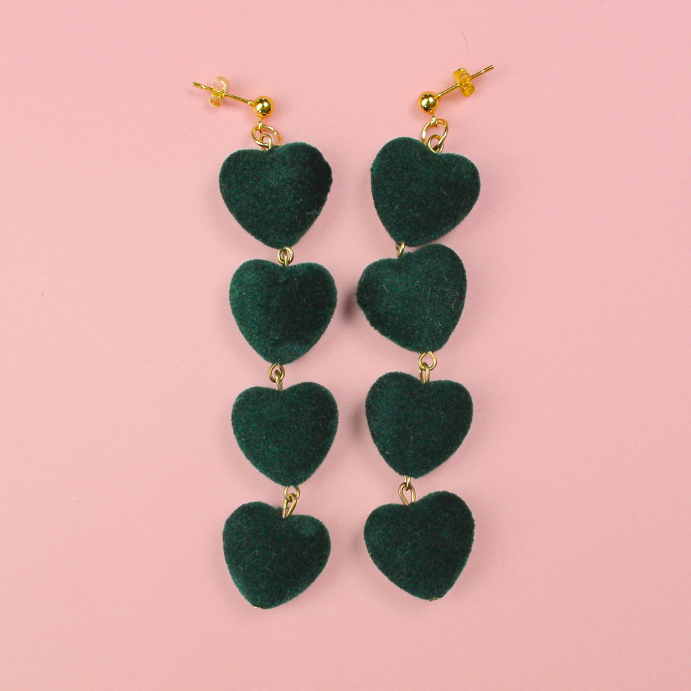 Forest Green Heart Earrings - Sour Cherry
