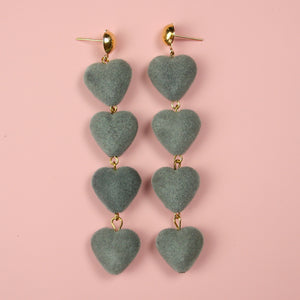 Grey Heart Earrings - Sour Cherry