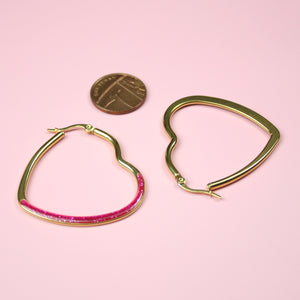 Pink Glitter Heart Hoop Earrings (Gold Plated) - Sour Cherry
