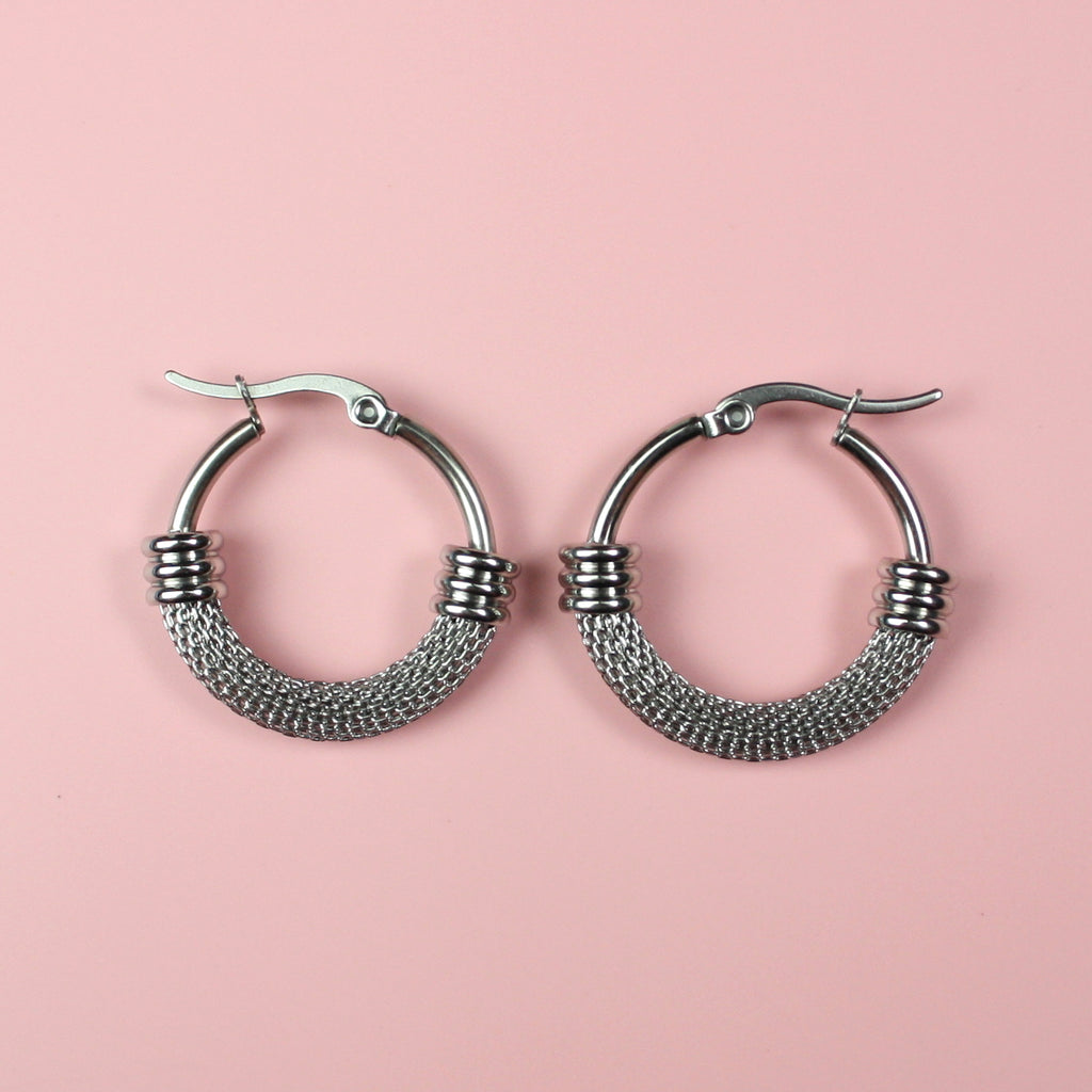 Half Chain Detail Hoop Earrings