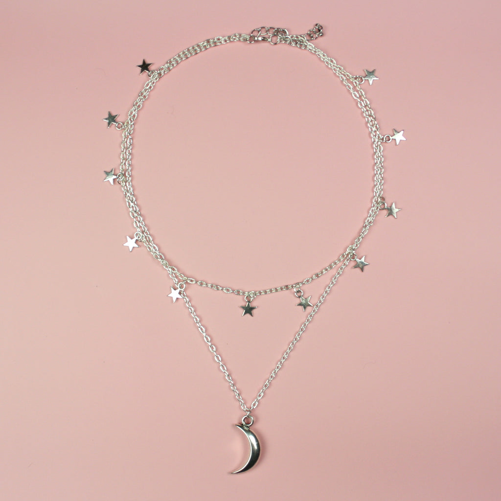Moon & Star Layered Necklace (Silver Plated) - Sour Cherry