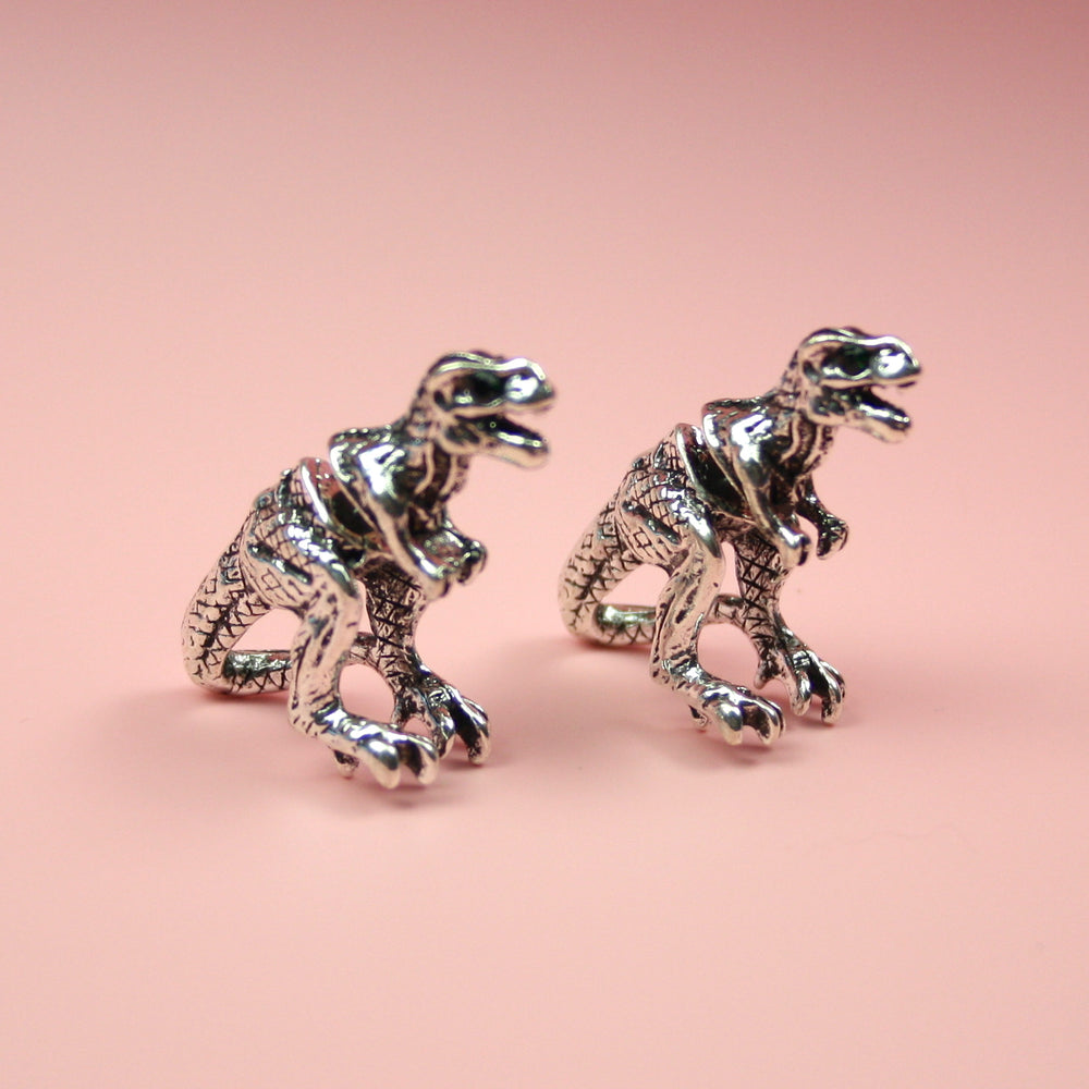 Load image into Gallery viewer, Silver 2 Piece T-Rex Stud Earrings - Sour Cherry