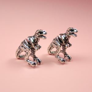 Silver 2 Piece T-Rex Stud Earrings - Sour Cherry