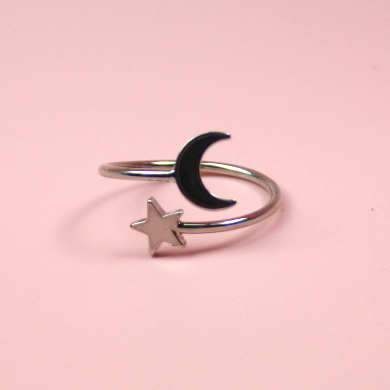 Star & Moon Ring (Silver Plated) - Sour Cherry