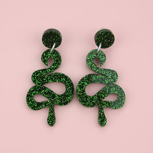 Green Glitter Snake Earrings - Sour Cherry