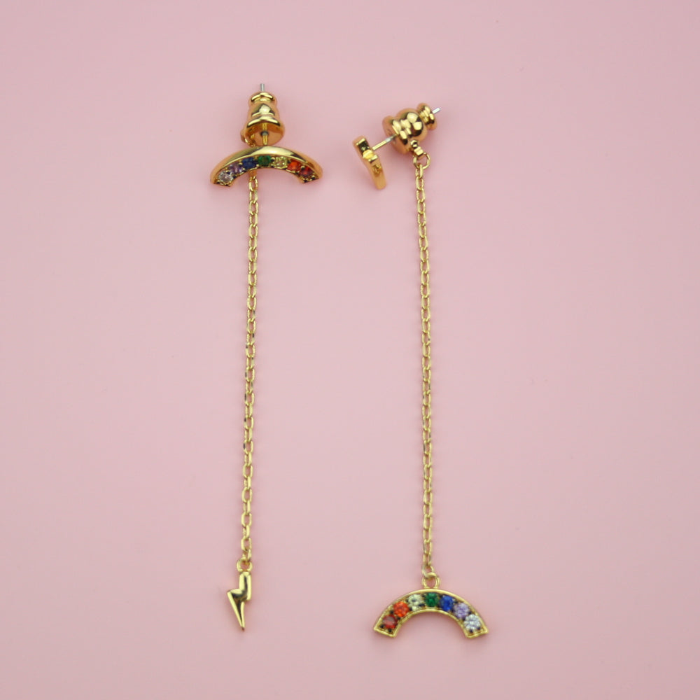 Load image into Gallery viewer, Rainbow & Lightning Drop Earrings - Sour Cherry
