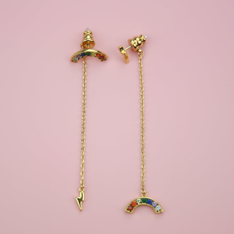 Rainbow & Lightning Drop Earrings - Sour Cherry