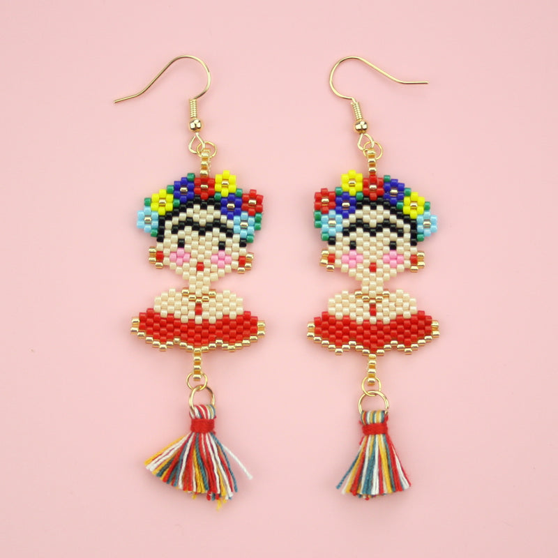 Frida Kahlo Red Dress Beaded Earrings - Sour Cherry