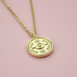 Evil Eye Talisman Coin Necklace - Sour Cherry