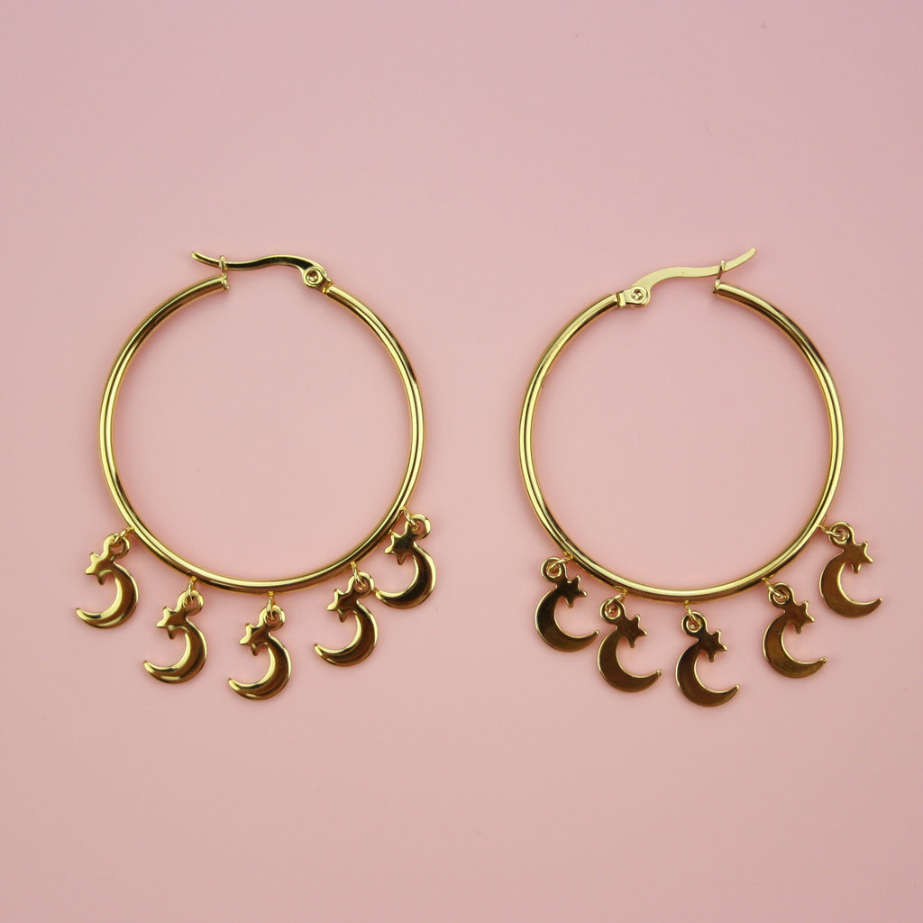 Moon & Star Hoop Earrings - Sour Cherry