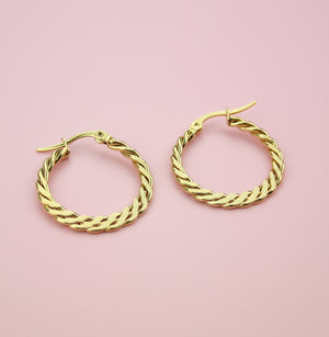 Flattened Curb Chain Hoop Earrings (Gold Plated) - Sour Cherry