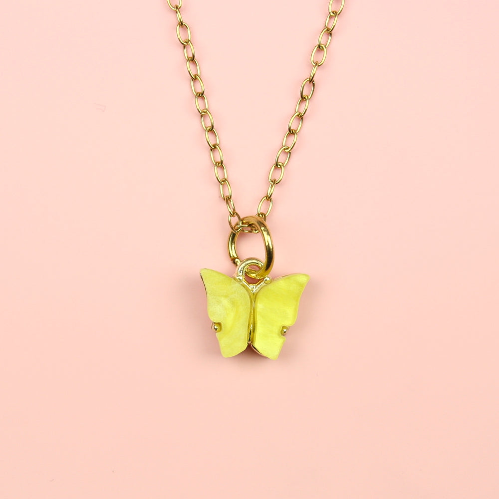 Yellow Marble Butterfly Necklace